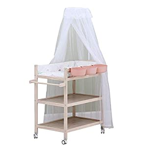Baby Changing Table Dresser Unit with Mosquito Net & Storage Box, Heavy Duty Wood Diaper Station On Wheels   3