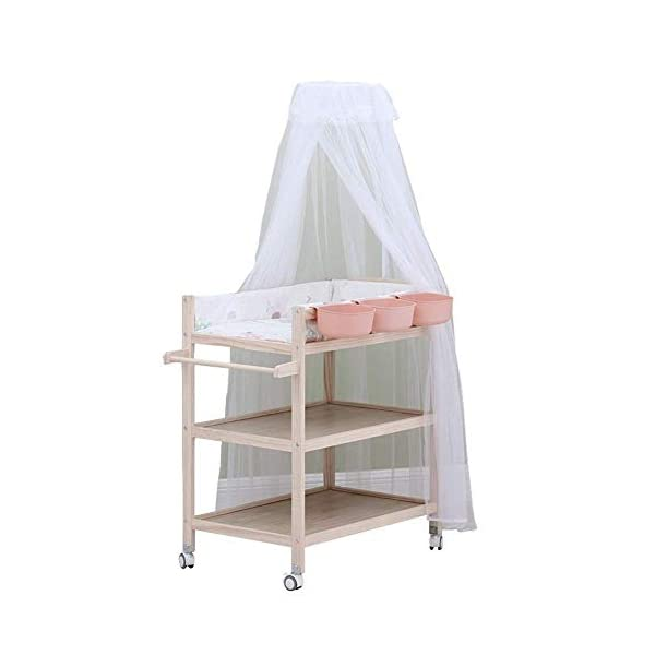Baby Changing Table Dresser Unit with Mosquito Net & Storage Box, Heavy Duty Wood Diaper Station On Wheels GUYUE 2-gear higth adjustment (88-95cm), the height can be adjusted freely according to the height of the mother. Guardrail: Guardrail height 13cm, Protect your baby's delicate body. Strong and sturdy wood construction, Pine wood production, health and Environmental Protection.(Load bearing 150kg) 1