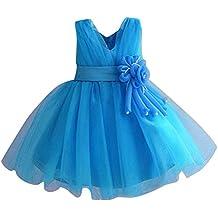 Bébes Y Niñas Sin Mangas V Cuello Fiesta Boda Bautizo Princesas Ceremonia Vestidos Azul para 6-7 años