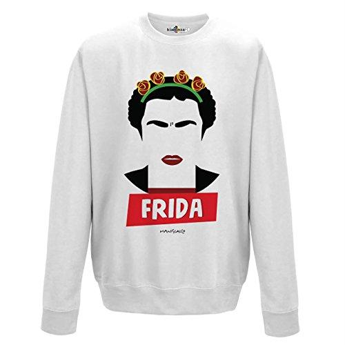 KiarenzaFD Sudadera Cuello Redondo Parodia Vintage Creation Frida pittrice México Khalo Rivera Man, Arctic White