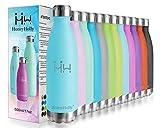 HoneyHolly Vakuum Isolierte Edelstahl Trinkflasche - 350/500/650/750 ml Thermosflasche für Kinder, Schule, Sport, Fahrrad, Fitness, Laufen, Auslaufsichere Sporttrinkflasche 24 Std Kühlen, 12 Std Heiße