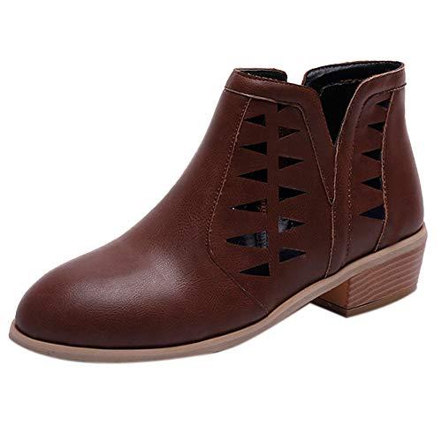 Sannysis Stiefeletten Damen Elegant Frauen Vintage Chunky Low Heels Starke Ferse Kurze Boot Ankle...