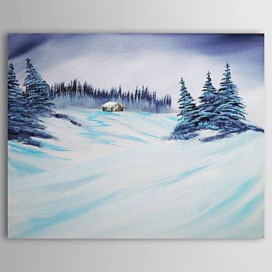 F.Latoo pittura natale nevica vacanza pittura ad olio su tela
