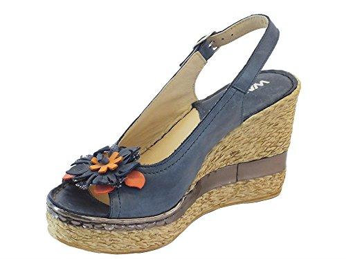 Sandali per donna Melluso in pelle blu zeppa alta effetto corda Blu