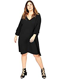 8095dab716ad36 Lovedrobe GB Women s Plus Size Black Double Pleated Sleeve Shift Dress