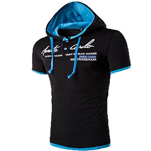 Hooded Shirt Herren Btruely Mit Kapuze Kurzarmshirt Slim Fit T-shirt Sports Top Männer Freizeit Hemd (L, C) (Short Bestickt Sleeve Tee)