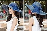 Futurekart Women Beach Hat Derby Cap Wide Brim Floppy Fold Summer Straw Hat Navy?Blue?