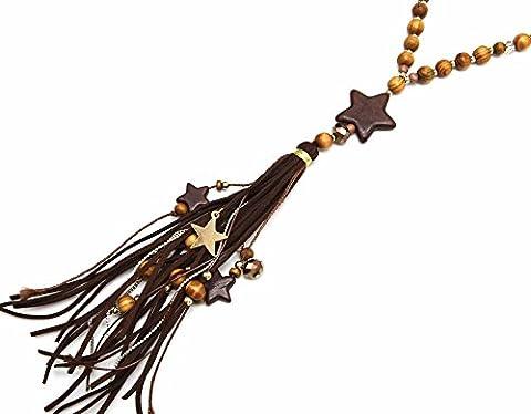 CL1745F - Sautoir Collier Perles Bois avec Etoile Effet Marbre, Pompon Franges Chocolat et Charms