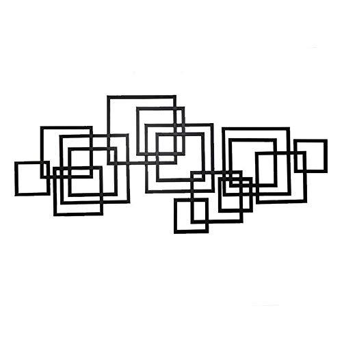 Fendouba arazzi in metallo, arte moderna da parete creativa geometrica scultura artigianale di decorazione da parete di fondo - nera moderno