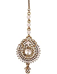 I Jewels Traditional Gold Plated Elegantly Handcrafted Stone Maang Tikka for Women T1037W (White)
