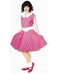 Rock'n'Roll Girl rosa-weiß gepunktet (Kleid, Petticoat, Gürtel) - Größe: 34 - 48