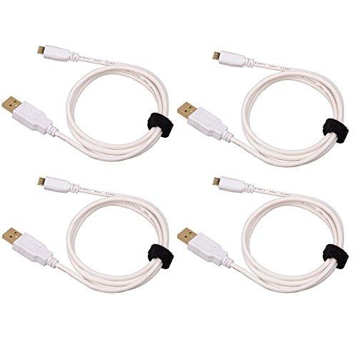 Unite [4-Pack] 1M Micro USB 2.0 a USB con cavo dati cavo di ricarica tappo di metallo per Android, Samsung, HTC, Motorola, Nokia, LG, HP, Sony, BlackBerry e altri (Bianco)