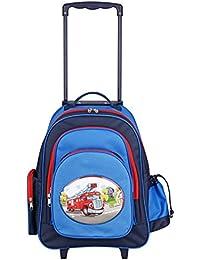 Aminata Kids – Exklusiver Kinder Trolley für Jungen mit Feuerwehr-Auto   Handgepäck-Koffer á 45x43x19 cm   verstellbarer Griff + 2 Rollen + 5 Fächer   Kindergartentasche in Blau & Rot   Reisetasche