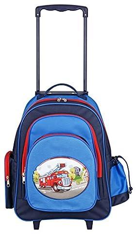 Aminata Kids – Exklusiver Kinder Trolley für Jungen mit Feuerwehr-Auto | Handgepäck-Koffer á 45x43x19 cm | verstellbarer Griff + 2 Rollen + 5 Fächer | Kindergartentasche in Blau & Rot | Reisetasche