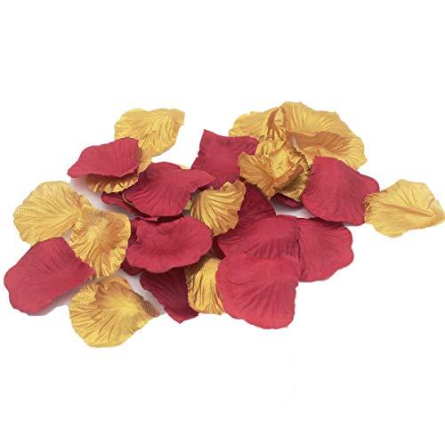 1000 STÜCKE Kastanienbraun Burgund & Gold Künstliche Blütenblätter Hochzeit Konfetti Tisch Streutafel Mittelstücke Brautdusche Blumenmädchen Korb Gang Dekoration (Tisch Hochzeit Mittelstücke)