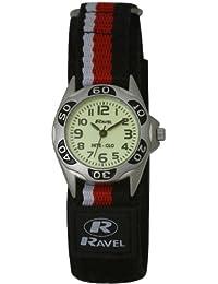 Ravel R1704.10–Jungen-Armbanduhr, Armband aus Stoff Farbe Schwarz