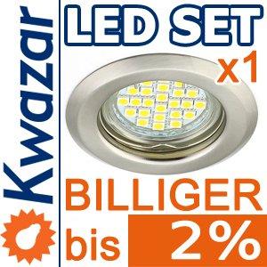 K-15 Einbaustrahler Set 24p Smd Led Warmweiss Inkl Gu10 230v Fassung - Nickel Matt Innox von Kwazar