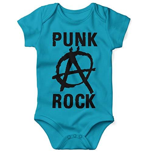 Mikalino Babybody mit Spruch für Jungen Mädchen Unisex Kurzarm Punk Rock Anarchy | handbedruckt in Deutschland | Handmade with Love, Grösse:68, Farbe:Atoll-Blue (Für Kinder Punk-rock)