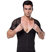 FEOYA Hombre Camiseta Reductora con Cremallera Ropa Interior Adelgazante Elástica Suave Transpirable Apto para Boda Fiesta Ceremonia