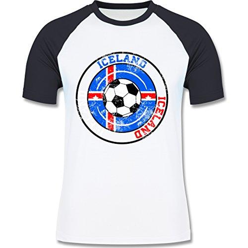 EM 2016 - Frankreich - Iceland Kreis & Fußball Vintage - zweifarbiges Baseballshirt für Männer Weiß/Navy Blau