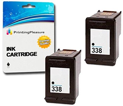 Printing Pleasure 2 SCHWARZ Druckerpatronen für HP OfficeJet 100 150 Mobile 6210 7310 H470 K7100 PSC 1610 2355 DeskJet 460 460c 5740 Photosmart 2610 8150 C3180 | kompatibel zu HP 338 (C8765EE) -