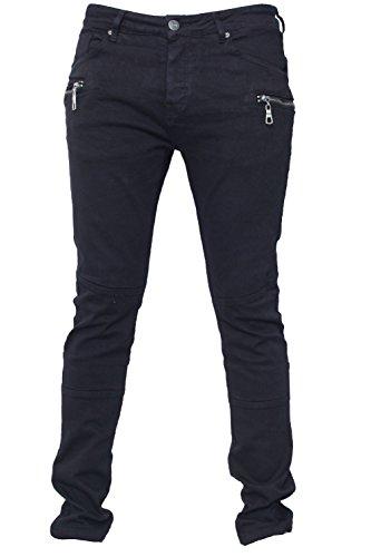 Seven Series Herren Markenzeichen Designer Mit Reißverschluss Hosen Chino Einfarbig Slimfit Passform Streachy Biker-jeans Schwarz