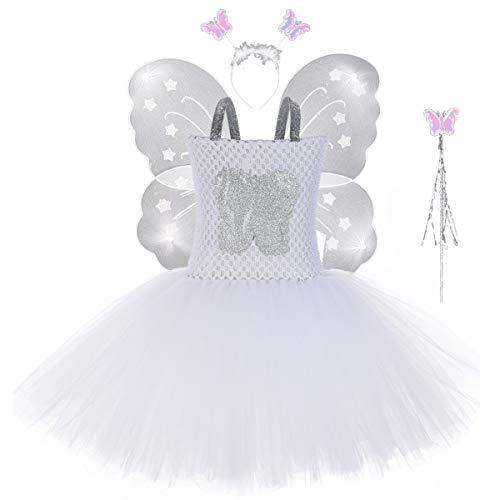 m für Mädchen, Fee, Schmetterling, Prinzessin, Ballett, Tutu, Halloween, Geburtstag, Party Outfit, weiß ()