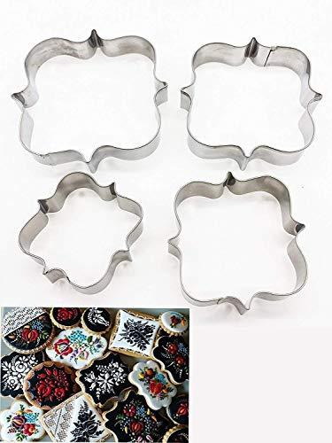 Plaque Rahmen Cookie Cutter 4PCS/Set, quadratischer Rahmen Plaque Fancy Oval Edelstahl Cookie Cutter - Square Frame