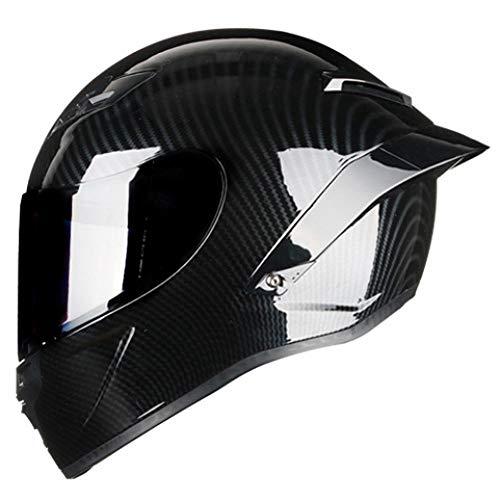 BARCTELRT Casco Moto Integrale in Fibra di Carbonio Casco da Corsa Professionale Kask DOT Rainbow Visor Motocross off Road Touring-Lucentezza 4_XL