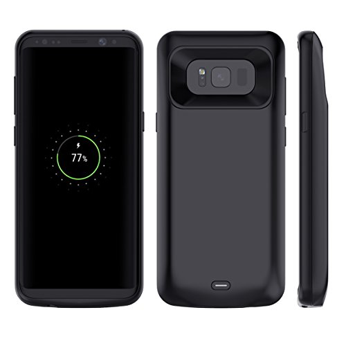 Custodia Batteria Galaxy S8 Plus, 5500mAh Batteria Esterna Integrata Ricaricabile Power Bank Backup Caricabatterie Portatile Batteria Cover Prottetiva Custodia per Samsung S8 Plus (2017) Nero