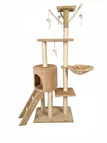 Cat-Tree-Scratching-Post-Scratch-Activity-Center-Scratcher-Pole-Bed-Toys-8001-Beige-with-Paws
