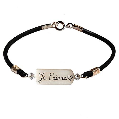 """Bracelet nacre saint Valentin personnalisé avec l'inscription """"Je t'aime"""" suivi d' un cœur. Joli cadeau pour les amoureux. Taille2 (18cm femme standard)"""