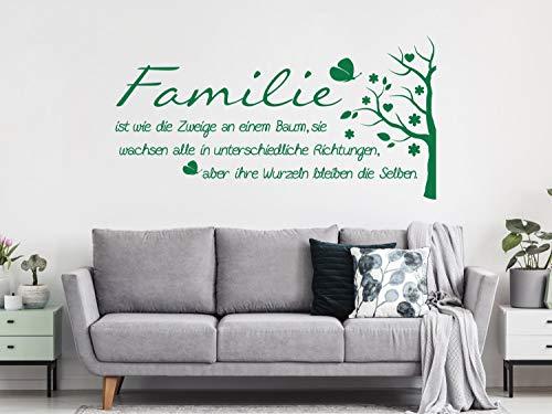 GRAZDesign Wandtattoo Familie mit Wandspruch und Baum | Wand-Aufkleber für Wohnzimmer | Wand-Sprüche selbstklebend / 59x30cm / 030 dunkelrot (Familie Baum-wand-aufkleber)