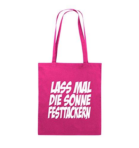Comedy Bags - LASS MAL DIE SONNE FESTTACKERN - Jutebeutel - lange Henkel - 38x42cm - Farbe: Schwarz / Silber Pink / Weiss