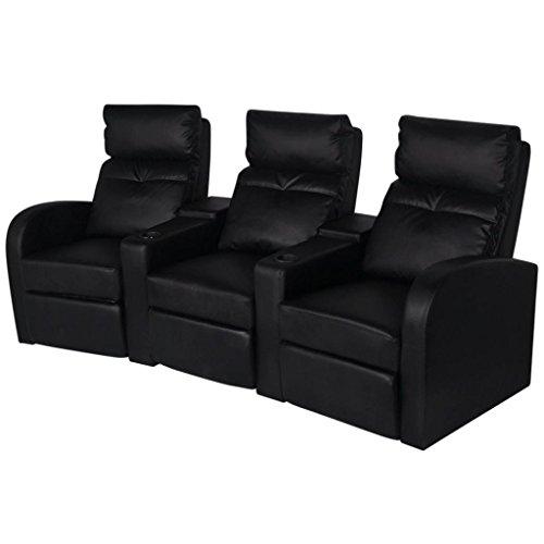 Vidaxl divano poltrona a tre posti reclinabile moderno in pelle artificiale nera