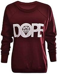 Fashion Charming-New Frauen Ladies Sweatshirts Pullover oben '' Dope '' Fleece Diamant Print Rundhalsausschnitt Größe 8-14