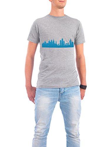"""Design T-Shirt Männer Continental Cotton """"PHILADELPHIA 05 Skyline Print monochrome Teal"""" - stylisches Shirt Abstrakt Städte Städte / Weitere Architektur von 44spaces Grau"""