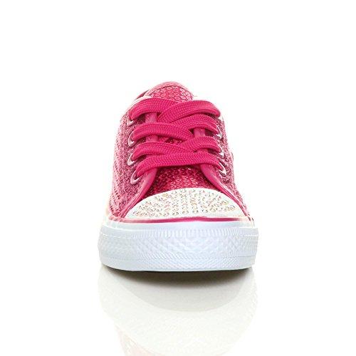 Mädchen Kinder Glitzern Paillette Schnüren Plimsolls Turnschuhe Sneaker Größe Fuchsienrosa