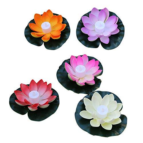 GNSDA 5 STÜCKE Künstliche Schwimm Lotus Blumen, Realistische Lotus Pads, Sieben Farbverlauf, Perfekt für Hausgarten Patio Teich Aquarium Pool Hochzeit Party Decor -