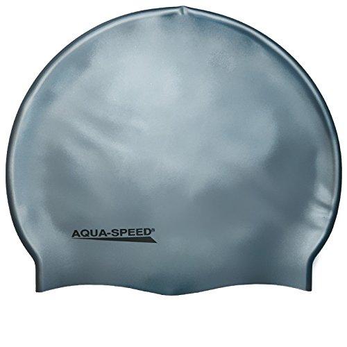 Aqua Speed MEGA Badekappe aus Super-Stretch-Silikon (Bademütze Badehaube Swimming Cap), Modell:Mega/hellgrau