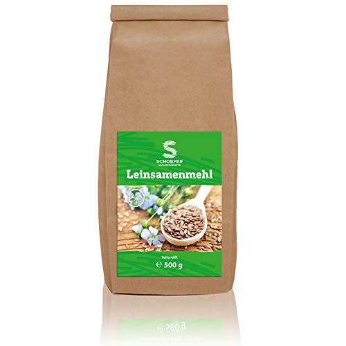 Schoefer Bio Leinsamenmehl - Teil-Entölt - Glutenfrei - Vegan - Eiweiß-Mehl - Weizenmehlersatz - Paleo - Aus Dunklen Leinsamen - 500g