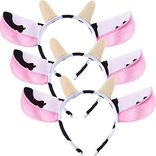 WILLBOND 3 Stücke Kuh Stirnbänder Kuh Ohren und Hörner Stirnband Cosplay Kostüm Ohren Stirnband Mädchen Erwachsene Kostüm Zubehör (Adult Kostüm 5 Stück)
