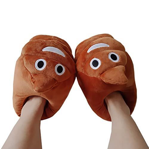 Poop Emoji Hausschuhe Winter Schuhe Cartoon Plüsch Hause Pantoffeln Universalgröße 35-39 Plüsch Baumwolle Hausschuhe Unisex Herren und Damen Kostümschuhe für Erwachsene Witziges Geschenk für Weihna
