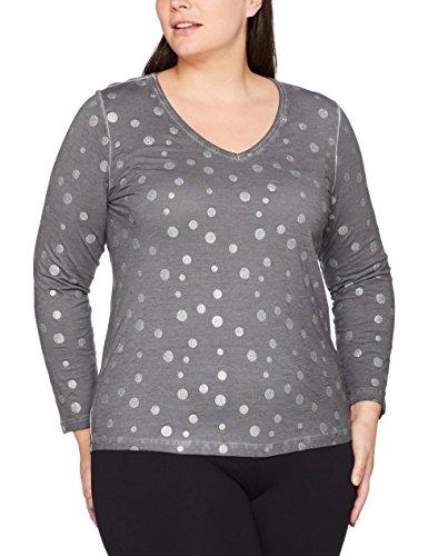 Via Appia Due Damen Langarmshirt Bedrucktes T-Shirt V-Ausschnitt 1/1 Arm, Grau (Grau 140), 44