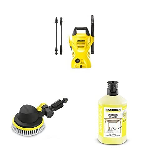 Kärcher K2 Compact Pressure Washer with Rotating Wash Brush and universal Detergent 1L