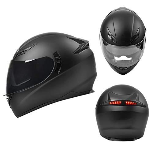 Leggero Casco Integrale Moto ECE Omologato Casco Moto con Luce di LED Sicurezza Anti-Fog Nero Visiera Casco Mofa Scooter Chopper Crash Cruiser Pilot Racing Helmet