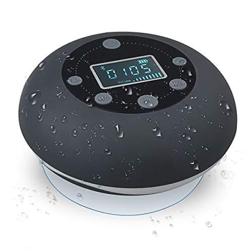VICTORSTAR Bluetooth Altavoz Impermeable Inalámbrica estéreo, Mini Altavoz S602 con Ventosa, Radio FM, Despertador y Manos Libres, Tarjeta TF Jugando para Ducha o Piscina (Gris)