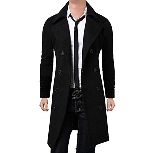 Vertvie Herren Herbst Lang Winter Wollmantel Trenchcoat Winterjacke College jacke (S, Schwarz)