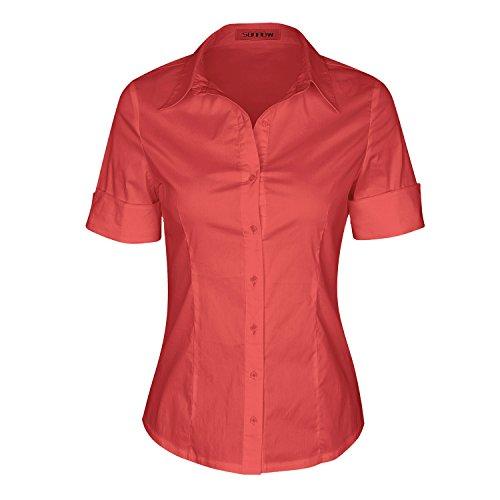 SUNNOW® Modisch Damen Shirt Kurzarm Revers Schlank Hemd Arbeit V-Ausschnitt mit Knöpfe Casual Einfarbig Oberteil Bluse Sommer (EU 36, Koralle)