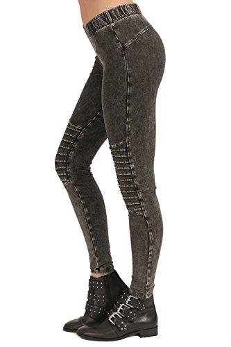 trueprodigy Casual Damen Marken Leggings mit Stretch, Leggings cool und stylisch sexy (sportlich & Skinny), elegant anschmiegsame Hose für Frauen in Farbe: Grau 6373505-0403-L